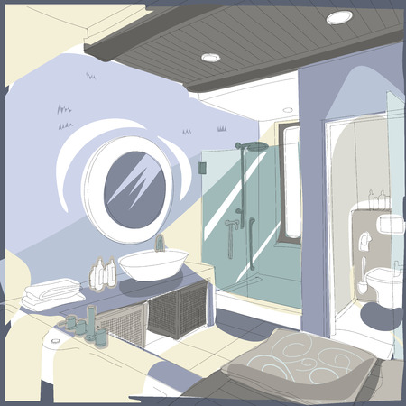 modern interior: Contemporary interior bathroom doodles in fusion style. Illustration