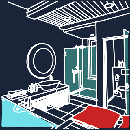 fusion: Contemporary interior bathroom doodles in fusion style. Illustration