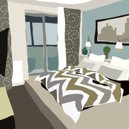 Contemporary interior bedroom doodle in fusion style. Vector