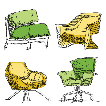 Contemporary furniture doodles armchairs in yellow and green. Illustration