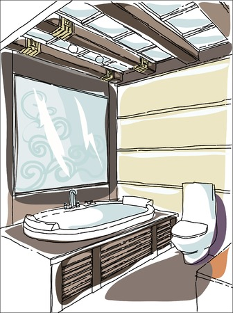 modern living room: Contemporary interior bathroom doodles in fusion style. Illustration
