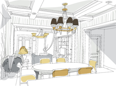 living room design: Contemporary interior living room doodles in neoclassical style.