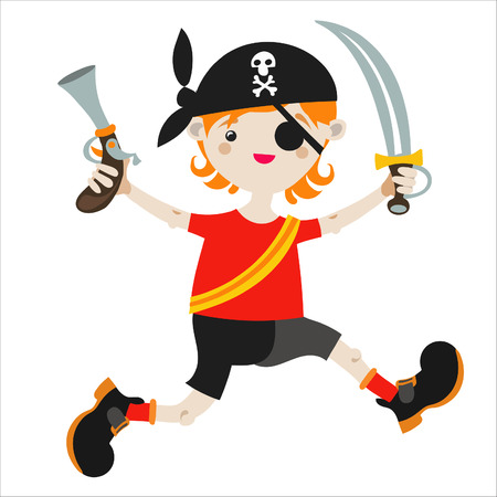 playmates: Boy role game playing as a pirate. Illustration