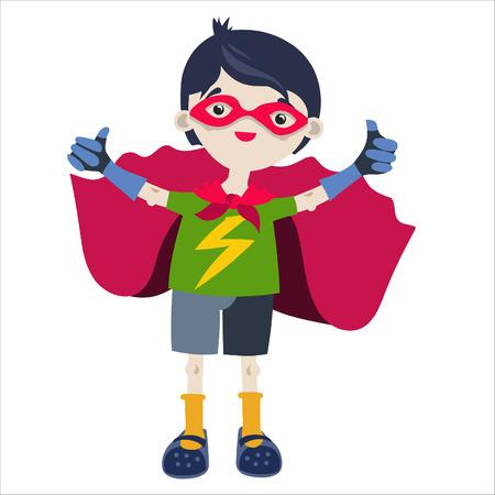 playmates: Boy juego de rol como un superhéroe. Vectores
