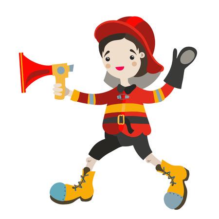 playmates: Boy juego de rol como los bomberos. Vectores