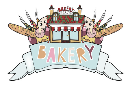 Bakery ribbon with different kind of bread. 向量圖像