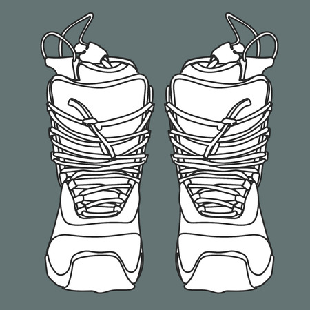 The snowboard boot front view with a high lacing.