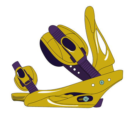 binding: Snowboard binding with closed buckles side view. Illustration
