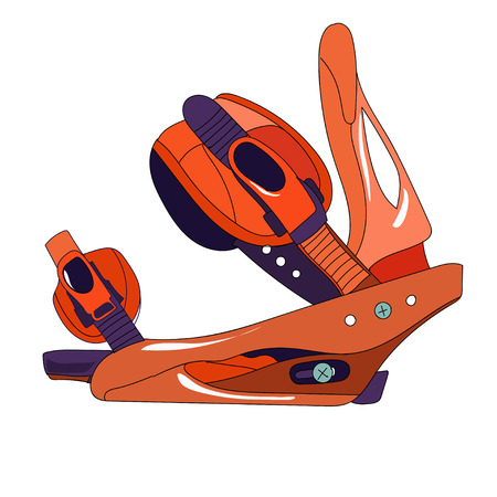 Snowboard binding with closed buckles side view. Vectores
