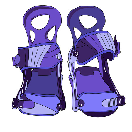 Snowboard binding with closed buckles front view.