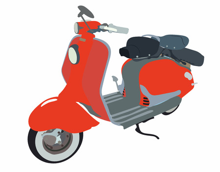 Motor scooter doodle in nice sixties style.