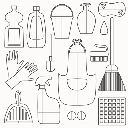 cleaning products: Cleaning products flat icons vector set on white bachground.