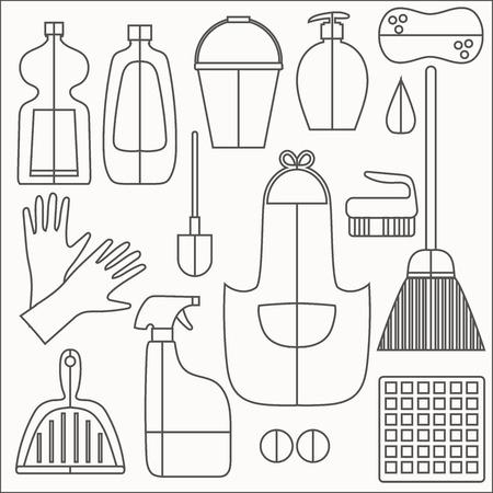 productos de limpieza: Productos de limpieza iconos planos del vector fijada en bachground blanco. Vectores