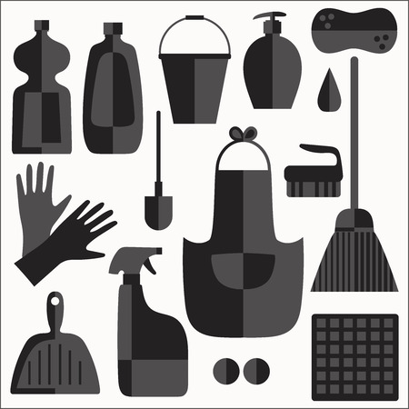 squeegee: Cleaning products flat icons vector set on white background.