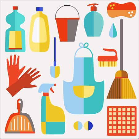 productos de limpieza: Productos de limpieza iconos planos conjunto de vectores en el fondo blanco. Vectores