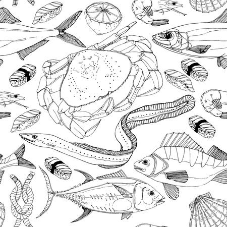 nile: Sea life doodle in lines.Pattern ready for fish shop.