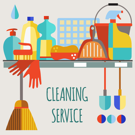 cleaning products: Cleaning products flat icon vector set.Cleaning service.