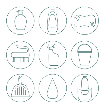 cleaning service: Cleaning products flat icon vector set.Cleaning service.