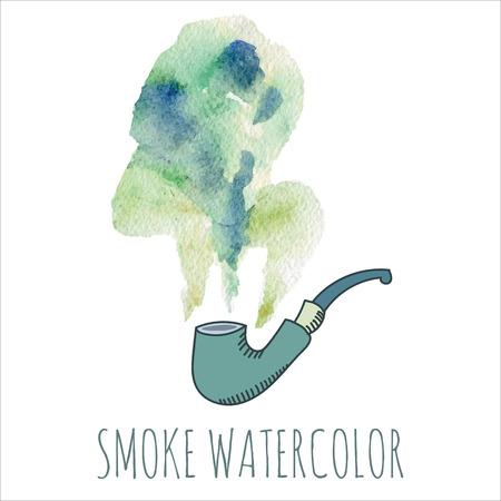 cigarette smoke: Il fumo di sigaretta acquerello impostato su sfondo bianco. Vettoriali