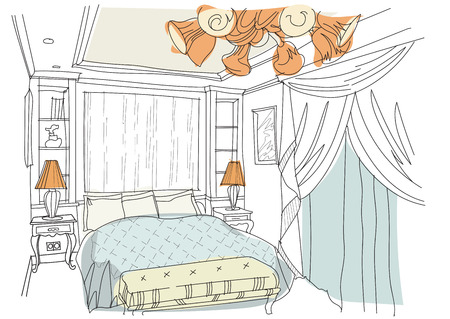 luster: Contemporary interior doodles bedroom on white background.Living room  hand draw sketch.