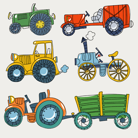 Doodle agricultural tractors on a white background. vector set. Ilustração