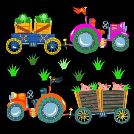 agronomics: Doodle  agricultural tractors on a black background.Vector Set