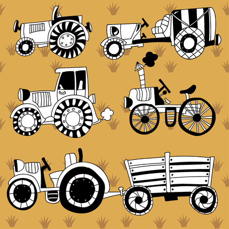 agronomics: Doodle agricultural tractors on a yellow background.Vector set doodle- black and white