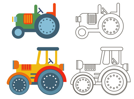 agronomics: Doodle retro agricultural tractors on a yellow background.Vector set icon - flat style.