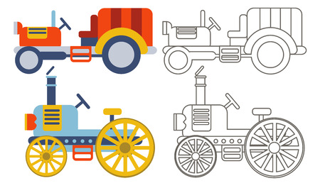 yellow tractors: Doodle retro agricultural tractors on a yellow background.Vector set icon - flat style.