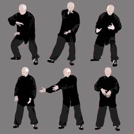 chi: Tai chi man silhouette. Vector set on gray background.