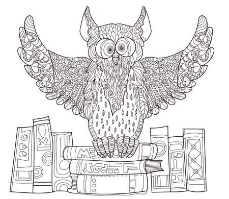 PrintOwl  on books- hand drawn doodle vector on white background.