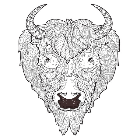 Bison head doodle with black nose on white background.