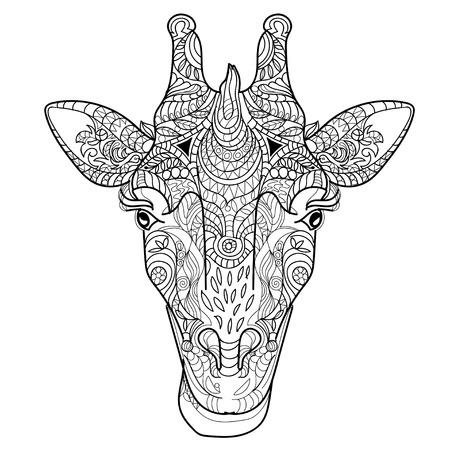 Giraffe head doodle on white background.Graphic illustration vector. Stock Illustratie