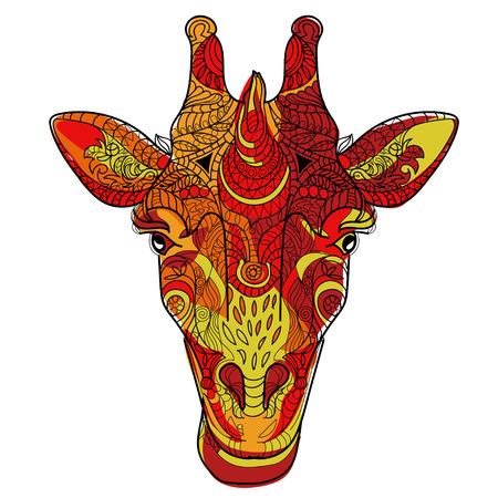 animal head giraffe: Giraffe head doodle on white background.Graphic illustration vector. Illustration