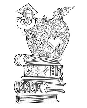 manzana caricatura: Doodle de ratón de biblioteca en el sombrero de los graduados en la manzana en una pila de libros