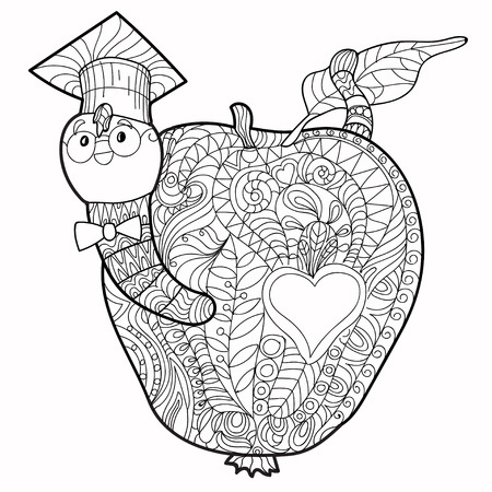 the animated cartoon: Bookworm doodle  in the graduates hat in apple.