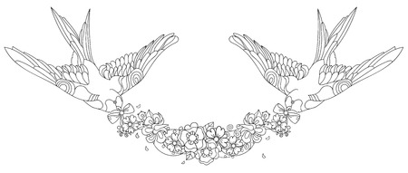 Swallows doodle with a garland of flowers on white background.