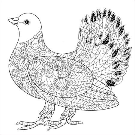 doves: Zentangle stylized floral Pigeon for Peace Day. Hand Drawn Dove of peace vector illustration. Sketch for tattoo or coloring book. Bird collection.