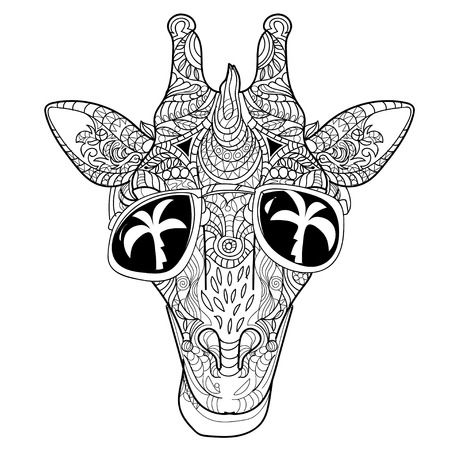 The head of a giraffe hipster. Giraffe in hipster glasses. Hand-drawn sketch of a giraffe. Giraffe from the front.