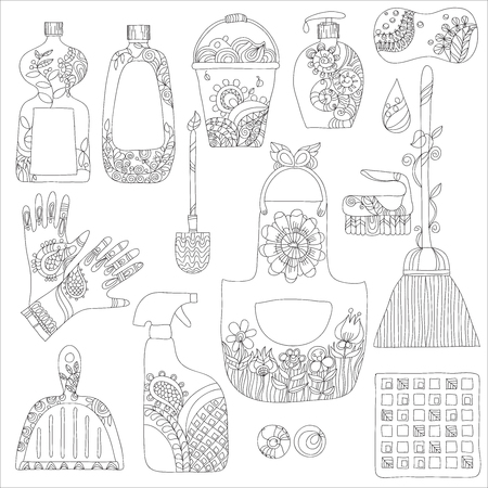 vacuum cleaner worker: Cleaning products flat icons vector set on white background -cleaning product doodle set hand drawn Illustration