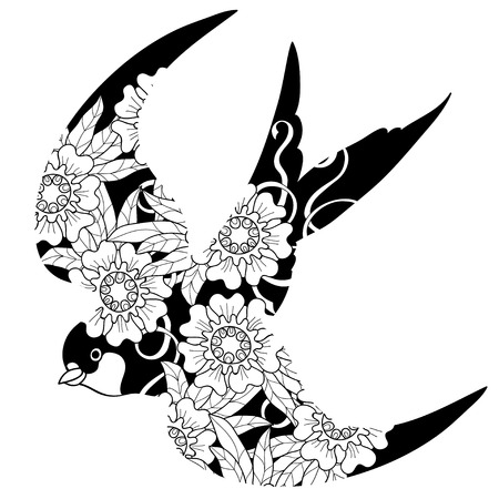 Swallow doodle  on white background.Flowers on a black background.