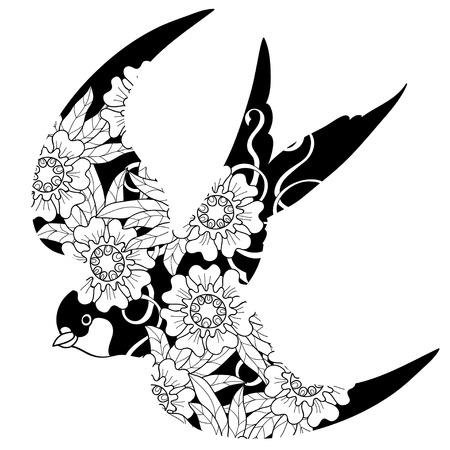 golondrina: Trague dibujo sobre background.Flowers blancas sobre un fondo negro. Vectores