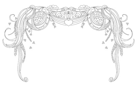 festoon: Abstract garland and roses isolated on a white background. Vector floral design elements. Illustration