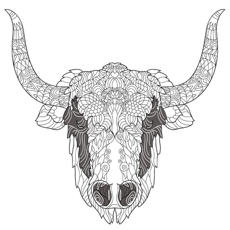 animal nose: Yak head doodle with black nose on white background.Vector illustration. Sketch for tattoo or coloring book. Animal collection.
