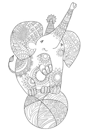 balance ball: Cute little elephant, black and white, totem tribal tattoo style, hand drawn graphic artwork.Baby circus elephant balance at ball.