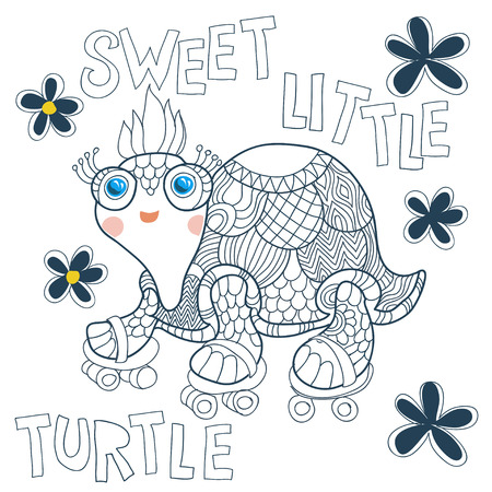 naif: Cartoon cute sea turtle in a naif doodle childish drawing isolated in white background.Rolling skating.