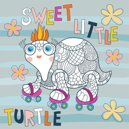 Cartoon cute sea turtle in a naif doodle childish drawing isolated in white background.Rolling skating.