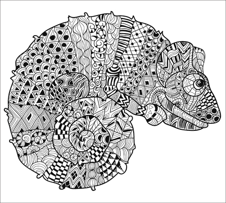 Hand drawn doodle outline chameleon decorated with ornaments.Vector zen tangle illustration.