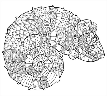 dragon tattoo: Hand drawn doodle outline chameleon decorated with ornaments.Vector zen tangle illustration.