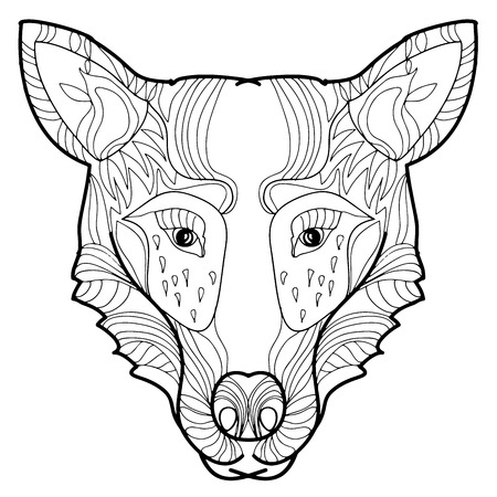 animales del bosque: Vector illustration doodle hand-drawn forest animals- wolf head.